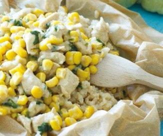 Csirkeragu kukoricás rizzsel