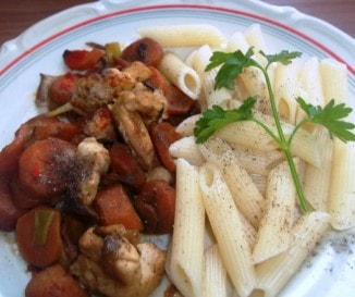 Répás-chilis  csirkemellcsíkok pennével